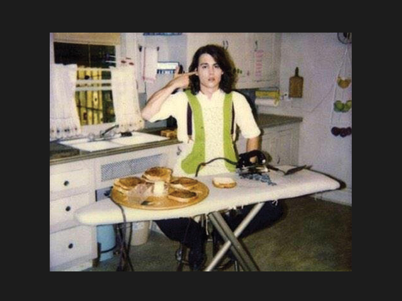 Johnny Depp ironing cheese sandwiches