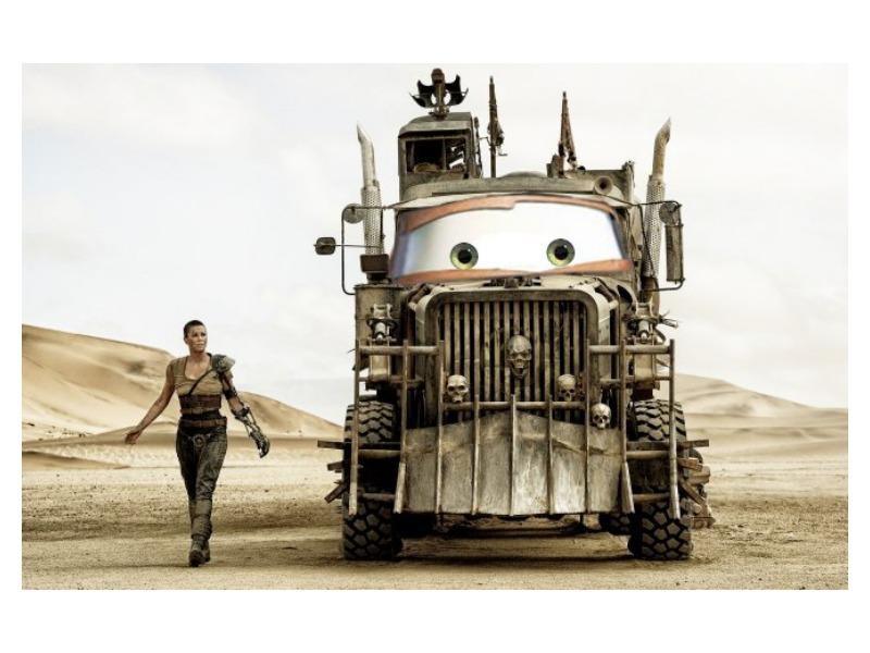 Photoshopping Pixar's Cars' eyes onto Mad Max vehicles