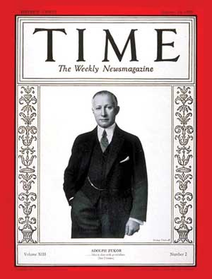 Adolph Zukor, the founder of Paramount Pictures, on the cover of Time magazine 1929