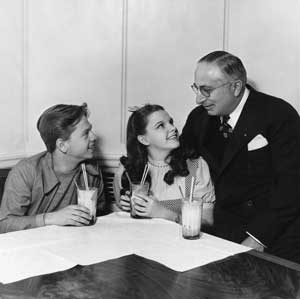 """Louis-B.-Mayer-with-two-of-his-""""homegrown""""-stars--Judy-Garland-and-Mickey-Rooney"""