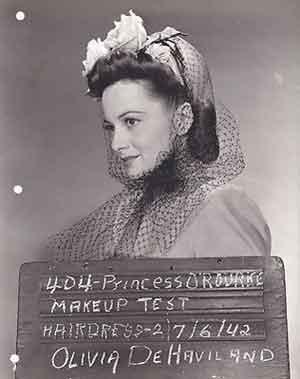 Olivia-de-Havilland's-make-up-test-shot-for-Princess-O'Rourke