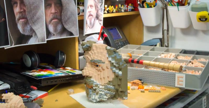 Watch a six-foot Luke Skywalker get built in LEGO