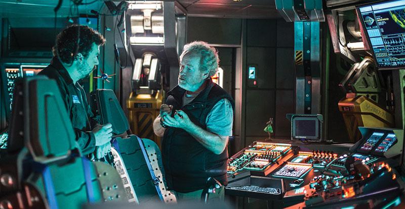 Ridley Scott and Danny McBride on set of Alien Covenant