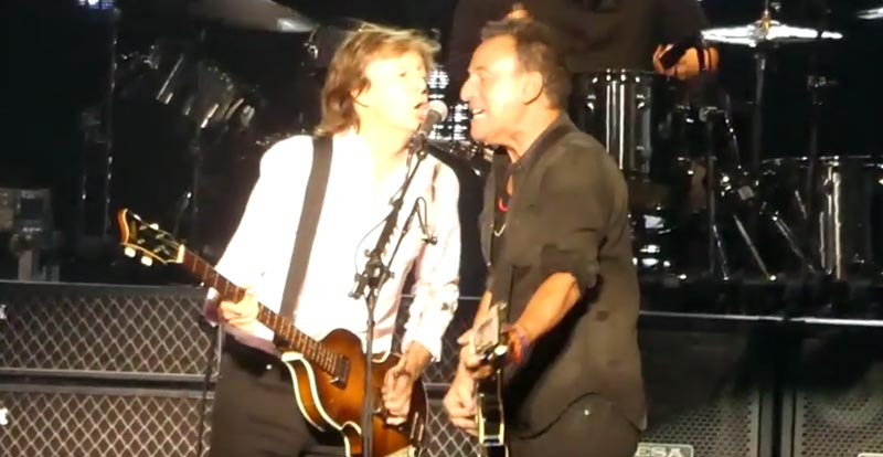 Sir Paul sees The Boss standing there…