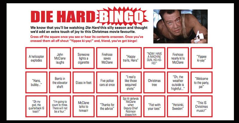 Die Hard BINGO! Free print