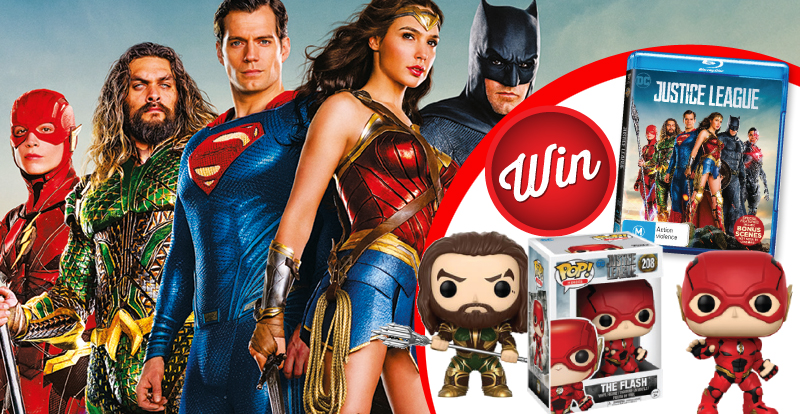 WIN The Flash and Aquaman POP! Vinyl and Justice League Blu-ray