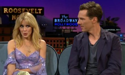 Kylie teaches line dancing to Mr Cumberbatch