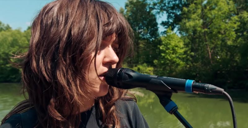 Courtney Barnett plays in a park