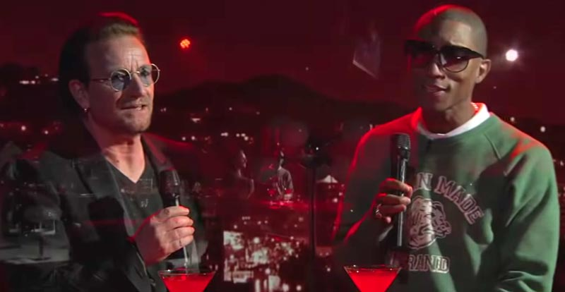 Bono and Pharrell do 'Stayin Alive' lounge style
