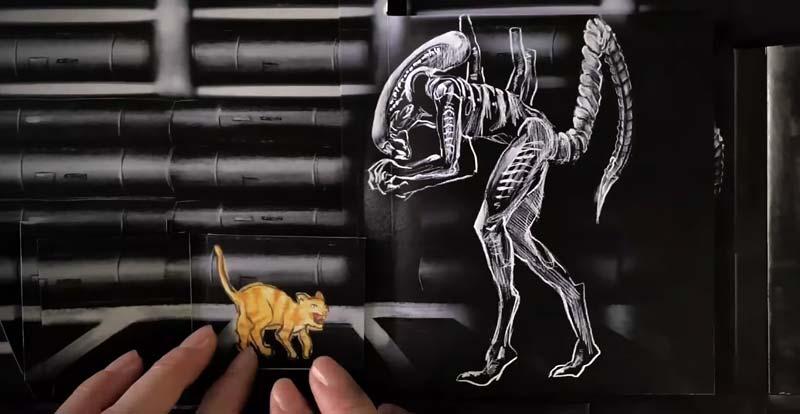 Flip over this animated Alien art!