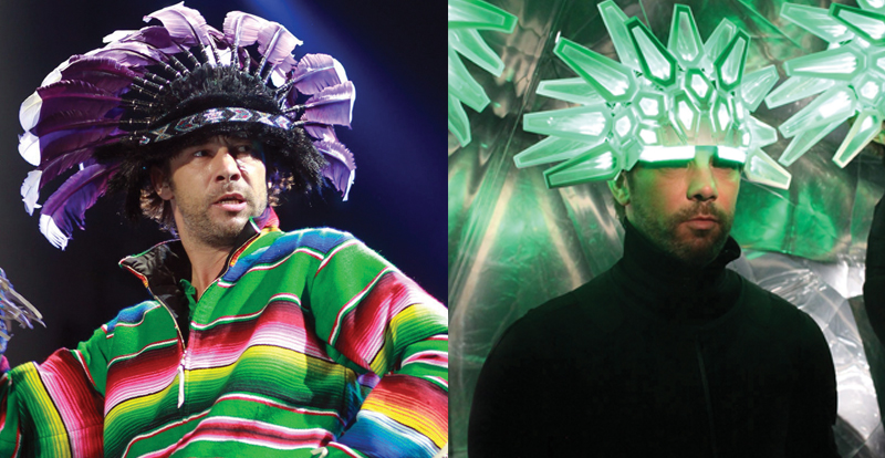Two images of Jamiroquai wearing Native American-inspired headdresses