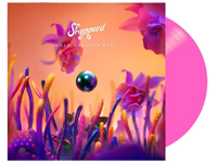 album cover artwork with hot pink vinyl record popping out