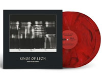 Album cover artwork with red marbled vinyl record popping out