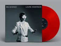 Album cover artwork for Big Science by Laurie Anderson with red vinyl recod popping out