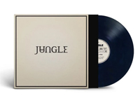 Album artworkf for Loving In Stereo by Jungle with black vinyl record popping out