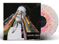 Album cover artwork with orange & pink splatter vinyl record popping out