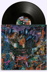 album cover artwork for Black Midi with black vinyl record popping out