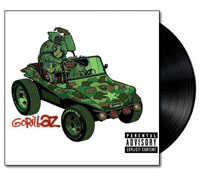 Album cover artwork for Gorillaz with black vinyl record popping out