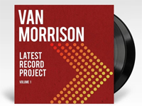 Album cover art for Van Morrison with black vinyl record popping out