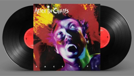 Alice In Chains album cover artwork with black vinyl record popping out