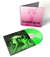 Album cover artwork for Garbage with neon green vinyl record popping out