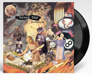 Album cover for Green Day with black vinyl record popping out