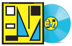 Album cover artwork for Split Enz with bright blue vinyl record popping out