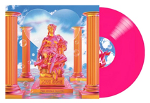 Album cover artwork for The Jungle Giants with neon pink vinyl record popping out