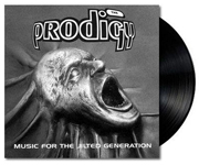 Album cover for The Prodigy with black vinyl record popping out