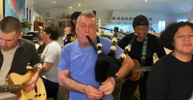 Watch Barnesy and fam cover AC/DC (with bagpipes) for our Olympians!
