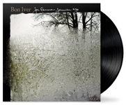 Album cover art for Bon Iver with black vinyl record popping out
