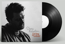 Album cover artwork for Shane Nicholson with black vinyl record popping out