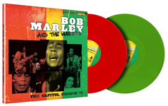 Album cover artwork for Bob Marley with red and green vinyl LPs popping out