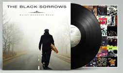 Album cover art for The Black Sorrows with black vinyl record popping out