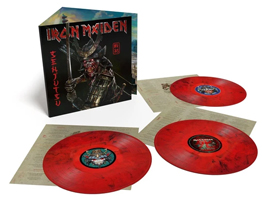 Album cover artwork for Iron Maiden with three red vinyl records