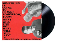 Albumn cover artwork for Emma Russack and Lachlan Denton with black vinyl record popping out