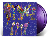 ALbum cover artwork for Prince with purple vinyl records popping out